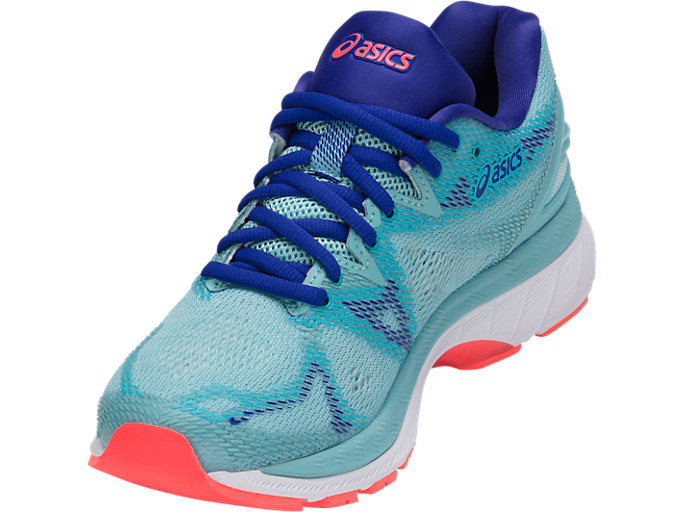 Front Left view of GEL-NIMBUS 20, PORCELAIN BLUE/WHITE/ASICS BLUE