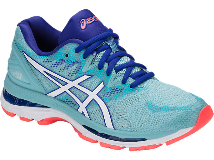 Front Right view of GEL-NIMBUS 20, PORCELAIN BLUE/WHITE/ASICS BLUE