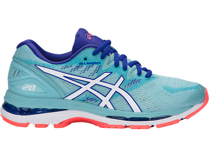 Right side view of GEL-NIMBUS 20, PORCELAIN BLUE/WHITE/ASICS BLUE