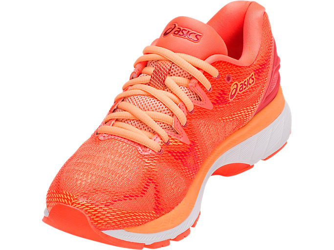 Front Left view of GEL-NIMBUS 20, FLASH CORAL/WHITE