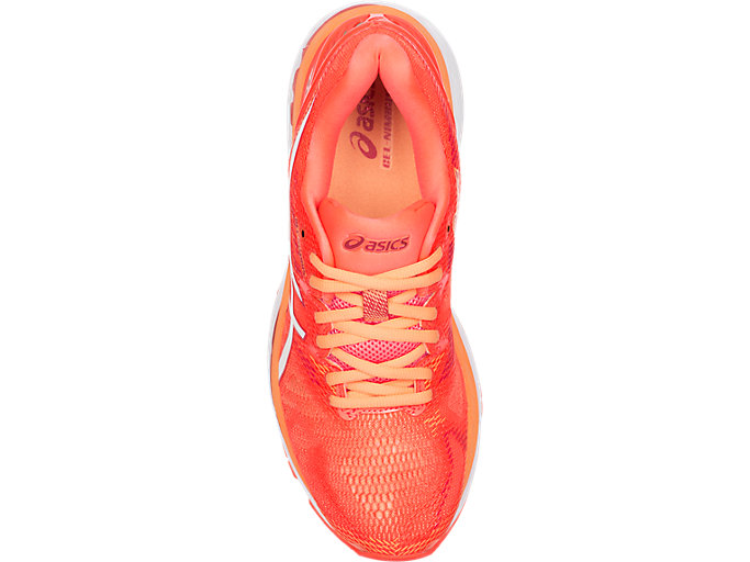 Top view of GEL-NIMBUS 20, FLASH CORAL/WHITE