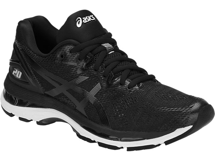 Front Right view of GEL-NIMBUS 20, BLACK/WHITE/CARBON