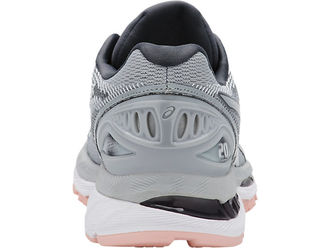 Back view of GEL-NIMBUS 20, MID GREY/MID GREY/SEASHELL PINK