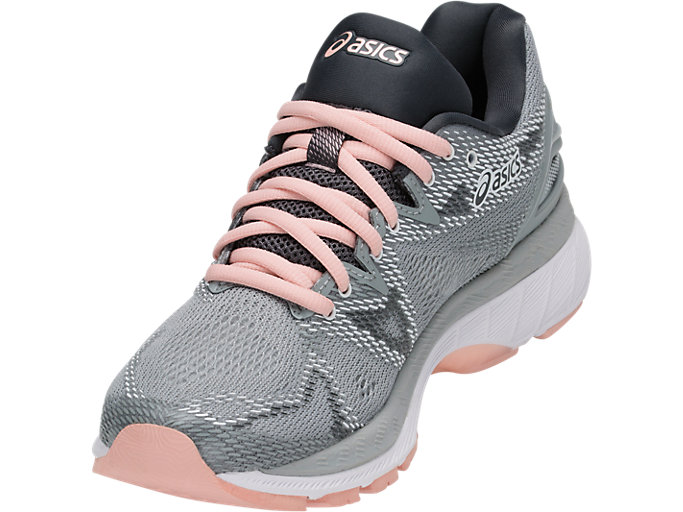 Front Left view of GEL-NIMBUS 20, MID GREY/MID GREY/SEASHELL PINK