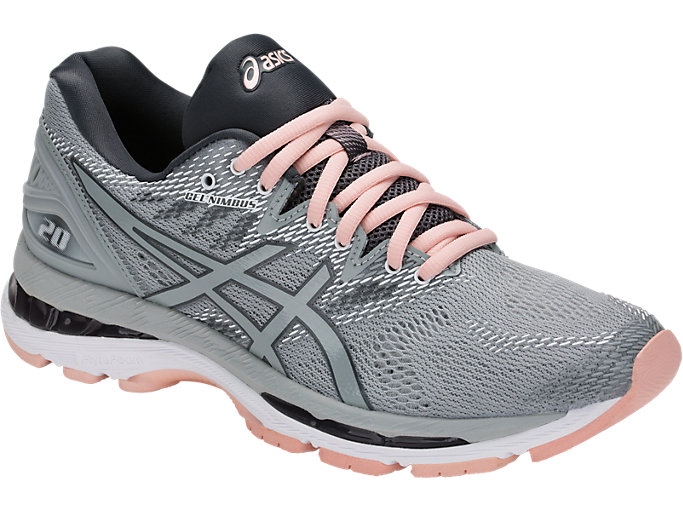 Front Right view of GEL-NIMBUS 20, MID GREY/MID GREY/SEASHELL PINK