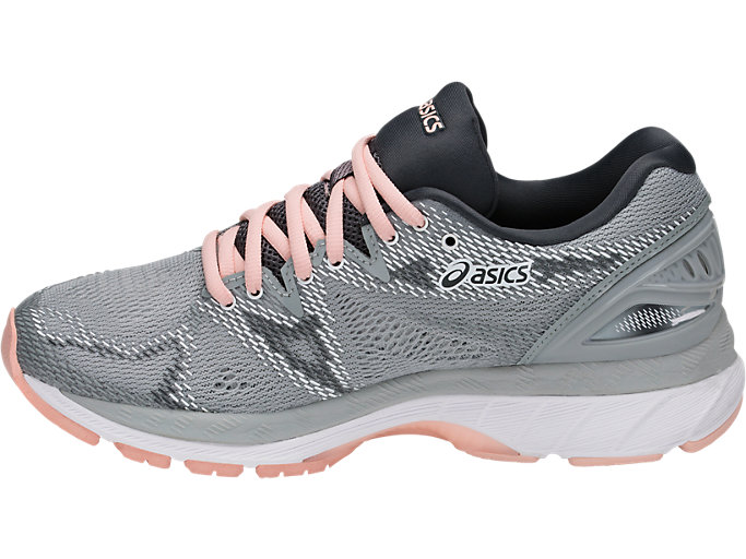 Left side view of GEL-NIMBUS 20, MID GREY/MID GREY/SEASHELL PINK