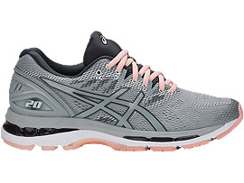 Right side view of GEL-NIMBUS 20, MID GREY/MID GREY/SEASHELL PINK