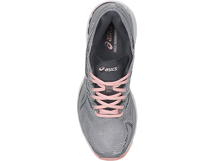 Top view of GEL-NIMBUS 20, MID GREY/MID GREY/SEASHELL PINK