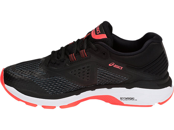 Left side view of GT-2000 6 NARROW, BLACK/FLASH CORAL