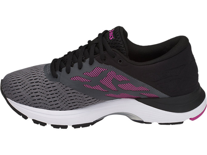 Left side view of GEL-FLUX 5, CARBON/BLACK/FUCHSIA RED