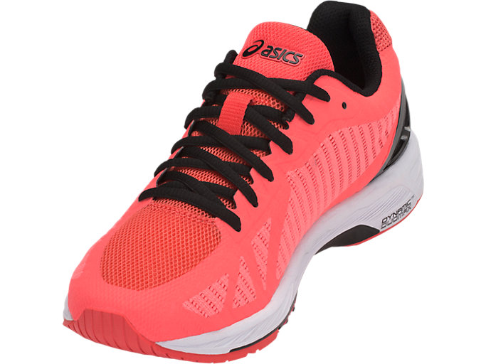 Front Left view of GEL-DS TRAINER 23, FLASH CORAL/BLACK/CORALICIOUS