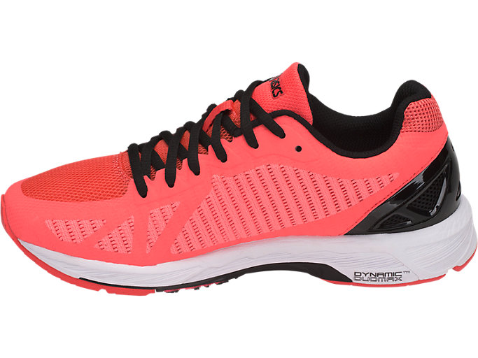 Left side view of GEL-DS TRAINER 23, FLASH CORAL/BLACK/CORALICIOUS