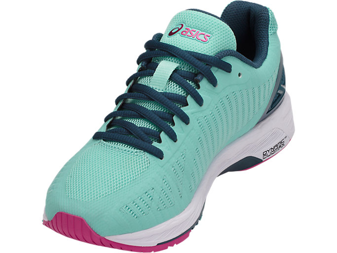 Front Left view of GEL-DS TRAINER 23, ARUBA BLUE/INK BLUE/FUCHSIA PURPLE