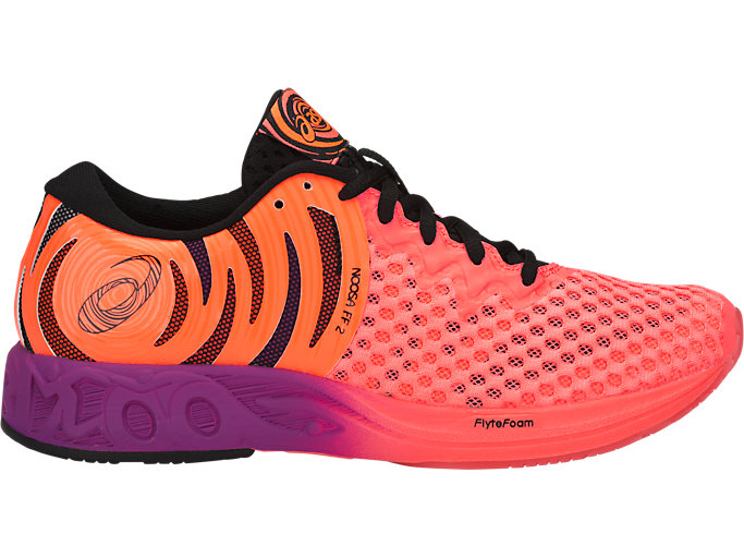 Right side view of NOOSA FF 2, FLASH CORAL/BLACK/SHOCKING ORANGE