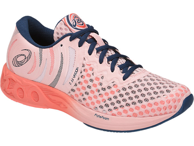 Front Right view of NOOSA FF 2, SEASHELL PINK/DARK BLUE/BEGONIA PINK
