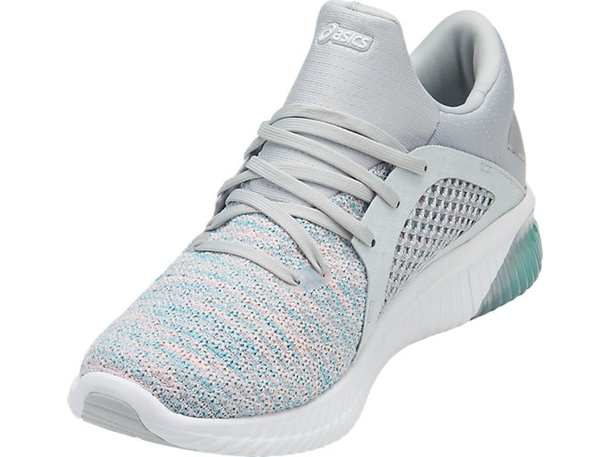 Front Left view of GEL-KENUN KNIT, ARUBA BLUE/GLACIER GREY/WHITE