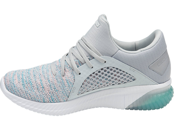 Left side view of GEL-KENUN KNIT, ARUBA BLUE/GLACIER GREY/WHITE