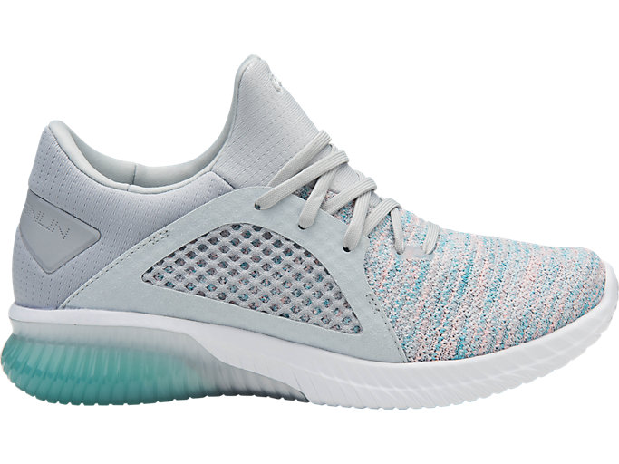 Right side view of GEL-KENUN KNIT, ARUBA BLUE/GLACIER GREY/WHITE