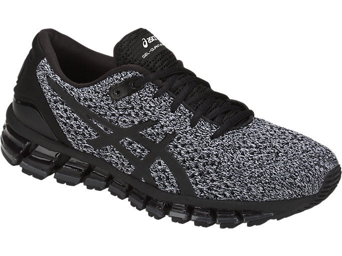 Front Right view of GEL-QUANTUM 360 KNIT 2, BLACK/WHITE/BLACK