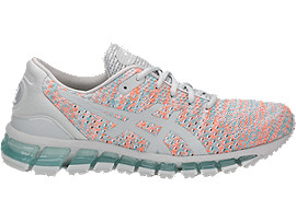Right side view of GEL-QUANTUM 360 KNIT 2, GLACIER GREY/ORANGE POP/ARUBA BLUE