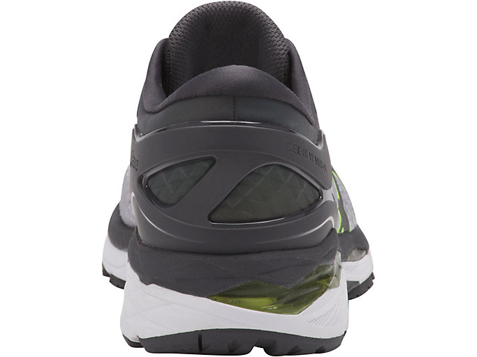 Back view of GEL-KAYANO 24 LITE-SHOW, MID GREY/DARK GREY/SAFETY YELLOW