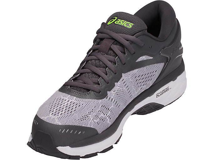 Front Left view of GEL-KAYANO 24 LITE-SHOW, MID GREY/DARK GREY/SAFETY YELLOW