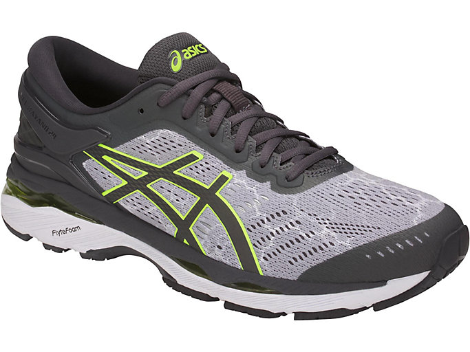 Front Right view of GEL-KAYANO 24 LITE-SHOW, MID GREY/DARK GREY/SAFETY YELLOW