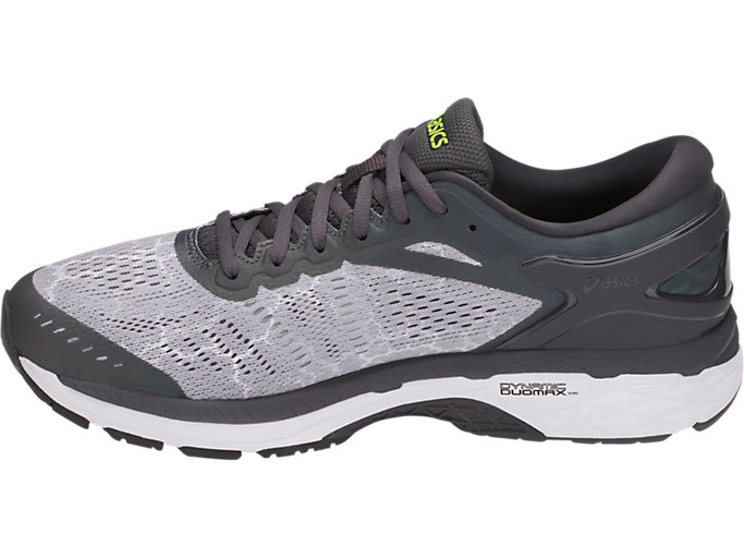 Left side view of GEL-KAYANO 24 LITE-SHOW, MID GREY/DARK GREY/SAFETY YELLOW