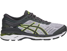 Right side view of GEL-KAYANO 24 LITE-SHOW, MID GREY/DARK GREY/SAFETY YELLOW