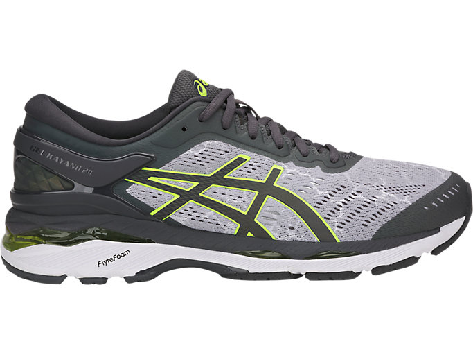 Right side view of GEL-KAYANO 24 LITE-SHOW, MID GREY/DARK GREY/SAFETY YELL