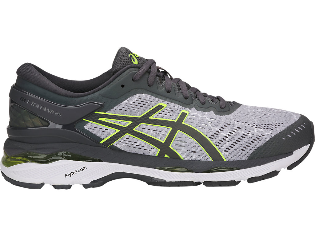 GEL-KAYANO®24 LITE-SHOW MENS:MID GREY/DARK GREY/SAFETY YELLOW