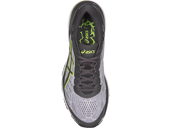 Top view of GEL-KAYANO 24 LITE-SHOW, MID GREY/DARK GREY/SAFETY YELLOW