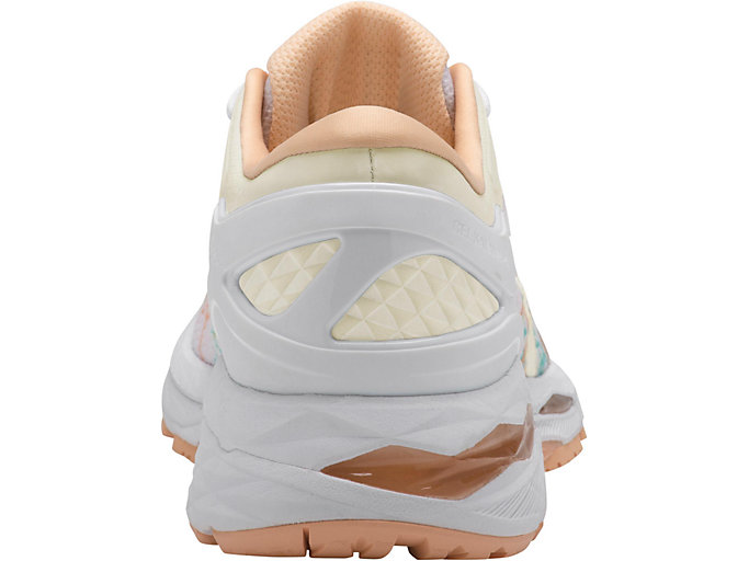 Back view of GEL-KAYANO 24 LITE-SHOW, WHITE/WHITE/APRICOT ICE