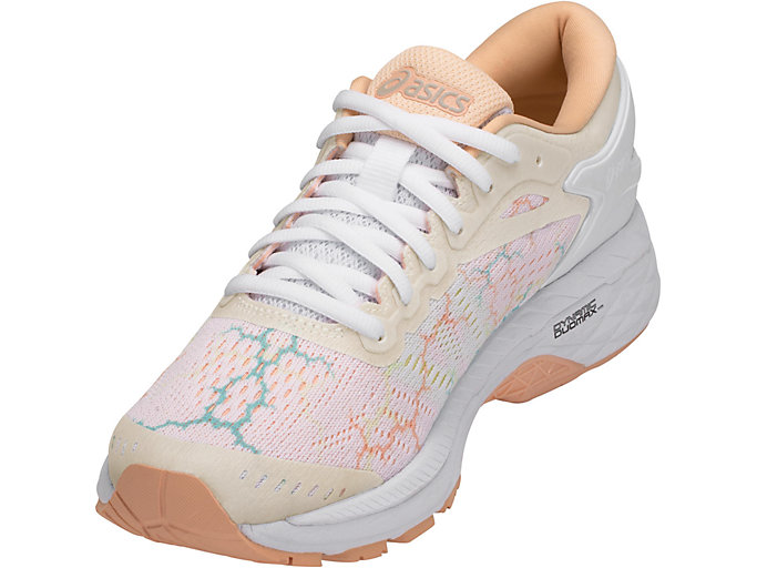 Front Left view of GEL-KAYANO 24 LITE-SHOW, WHITE/WHITE/APRICOT ICE