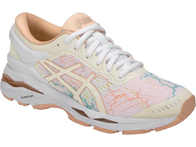 Front Right view of GEL-KAYANO 24 LITE-SHOW, WHITE/WHITE/APRICOT ICE
