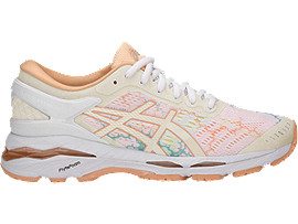 Right side view of GEL-KAYANO 24 LITE-SHOW, WHITE/WHITE/APRICOT ICE