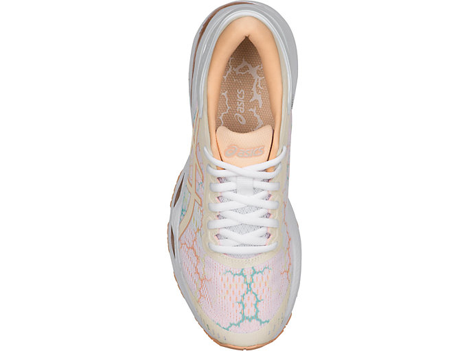 Top view of GEL-KAYANO 24 LITE-SHOW, WHITE/WHITE/APRICOT ICE