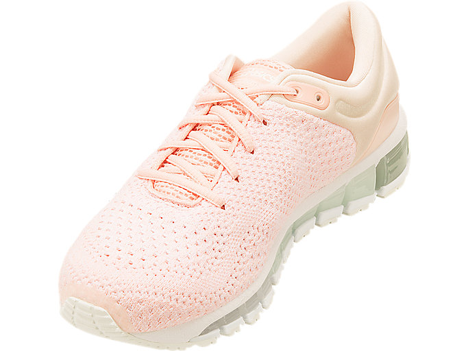 Front Left view of GEL-QUANTUM 360 KNIT 2, SEASHELL PINK/WHITE/SPROUT GREEN