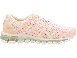 Right side view of GEL-QUANTUM 360 KNIT 2, SEASHELL PINK/WHITE/SPROUT GREEN