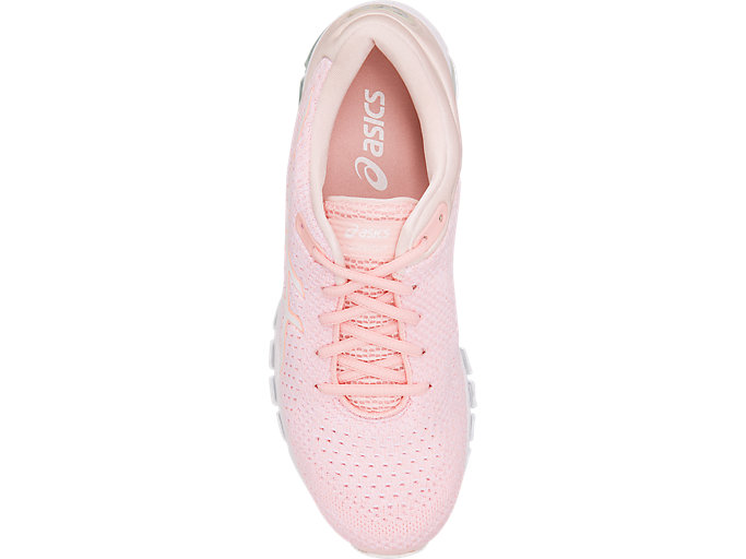 Top view of GEL-QUANTUM 360 KNIT 2, SEASHELL PINK/WHITE/SPROUT GREEN