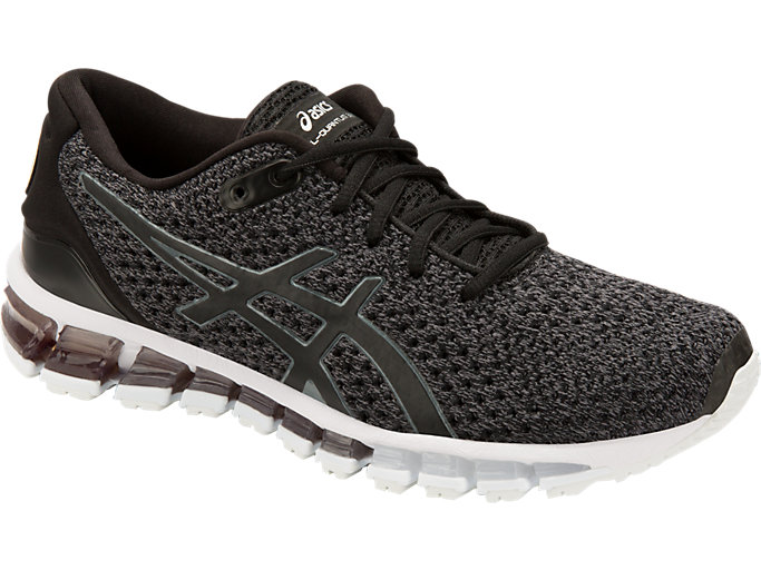 Front Right view of GEL-QUANTUM 360 KNIT 2, BLACK/CARBON/SILVER