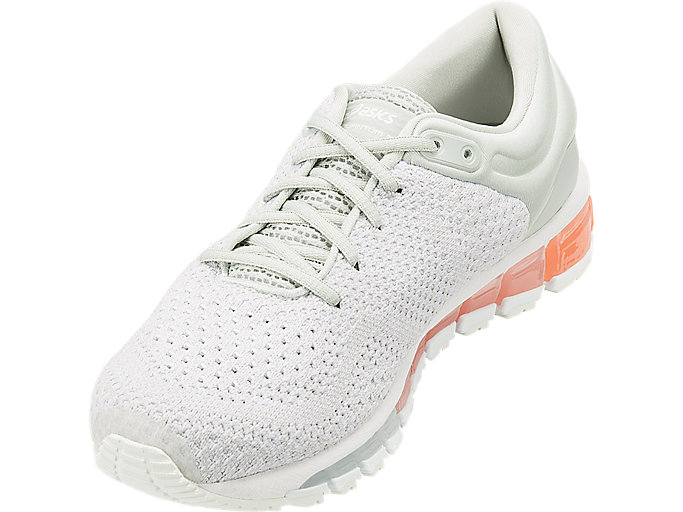 Front Left view of GEL-QUANTUM 360 KNIT 2, GLACIER GREY/SEASHELL PINK/WHITE