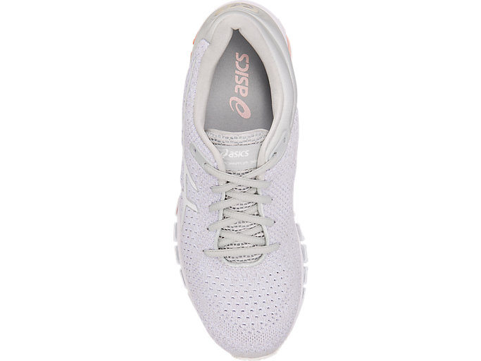 Top view of GEL-QUANTUM 360 KNIT 2, GLACIER GREY/SEASHELL PINK/WHITE