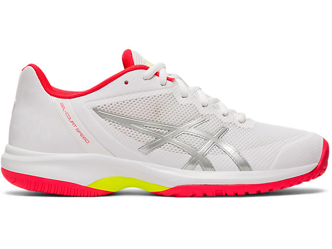 Right side view of LADY GEL-COURT SPEED, WHITE/LASER PINK