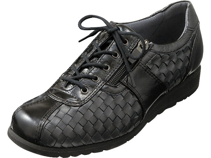 Front Left view of PEDALA WALKING SHOES 3E, ブラック/BLK