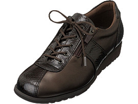 Front Left view of PEDALA WALKING SHOES 3E, Kコーヒーブラウン