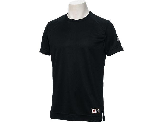 Front Top view of Tシャツ半袖(早稲田), ブラック