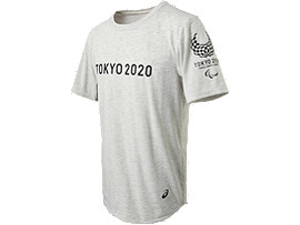 Front Top view of Tシャツ(東京2020パラリンピックエンブレム), ホワイト杢