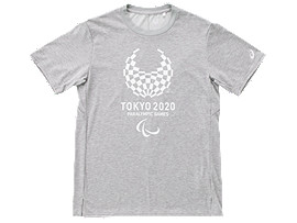 Front Top view of Tシャツ(東京2020パラリンピックエンブレム), グレーモク