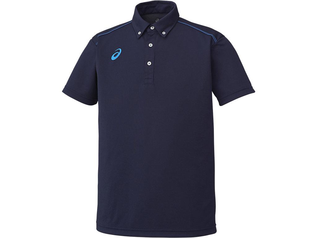 【ASICS/アシックス】 ボタンダウンシャツ ネイビー_XA6167